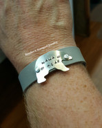 Mama Bear Silver On Grey Leather Cuff Bracelet