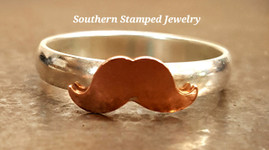 Copper Mustache And Sterling Silver Ring