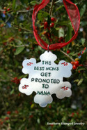 Snowflake Hand Stamped Christmas Ornament