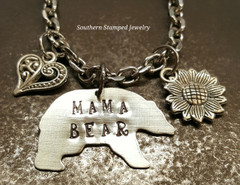 Mama Bear Silver Rear View Mirror Charm w/ 1 Charm and Birth Stone Bead