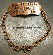 Copper Long Plaque On Copper Bracelet