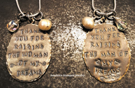 "2 ""Thank You"" Woman And Man Natural Brass Oval Necklaces"