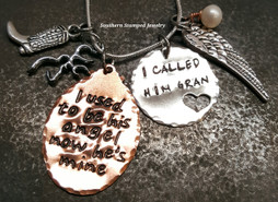 I Used To Be Copper Oval w/ Silver Circle Cut Out Heart