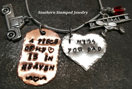 A Piece Of My Heart Copper Dog Tag w/ Solid Silver Heart