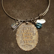 Thank You For Raising The Man Of My Dreams Natural Brass Oval w/ 2 Birth Stones And Black Lettering
