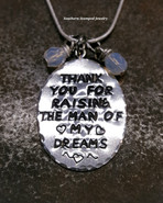 Thank You For Raising The Man Of My Dreams Pewter Oval w/ 2 Birth Stones (Hypoallergenic)