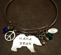 Mama Bear Bangle w/ 2 Birth Stones And 2 Charms