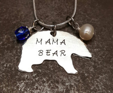 Mama Bear Necklace w/ 2 Birth Stones