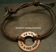 My Mom My Best Friend Copper Washer And Brown Leather Adjustable Bracelet