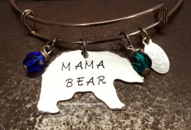 Mama Bear Bangle Bracelet w/ 2 Birth Stones