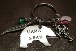 Mama Bear Key Chain w/ 2 Charms And 2 Birth Stones