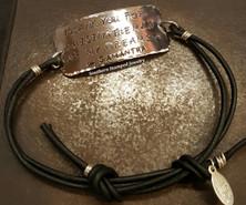 Thank You For Raising Wide Silver Bar Black Adjustable Bracelet