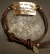 Thank You For Raising The Man Brass Wide Bar Brown Adjustable Bracelet