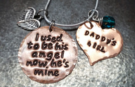 I Used To Be His Angel Copper Circle with Solid Copper Heart