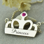 Sterling Silver Personalized Crown Necklace
