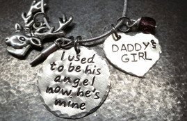 I Used To Be His Angel Silver Circle with Silver Solid Heart