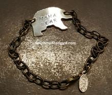 Mama Bear Silver Bear w/ Natural Brass Bracelet