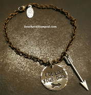 Follow Your Own Arrow Silver Circle And Natural Brass Bracelet