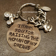 Thank You For Raising The Woman Of My Dreams Natural Brass Circle Key Chain w/ 2 Charms