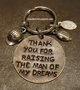 Thank You For Raising The Man Of My Dreams Natural Brass Circle Key Chain w/ 2 Charms