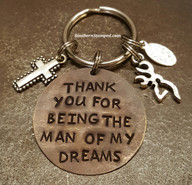 Thank You For Being The Man Of My Dreams Natural Brass Circle Key Chain w/ 2 Charms