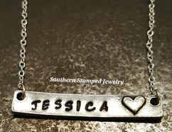 Pewter Bar Necklace w/ Heart