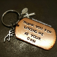 Thank You For Loving Me As Your Own Large Copper Dog Tag w/ 2 Charms