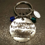 Thank You For Being The Man Of My Dreams Silver Circle Keychain