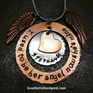 I Used To Be Her Angel Copper Washer w/ Silver Circle And Tiny Copper Heart