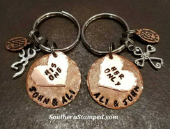 His One Her Only Copper Circle Key Chains