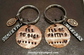 I'll Be Back I'll Be Waiting Copper Key Chain Set