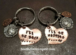 I'll Be Back I'll Be Waiting Copper Funky Heart Key Chain Set