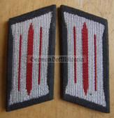 sbbs019 - pair of NVA Artillery enlisted EM Collar Tabs - Dress Uniform - colour coded older type