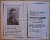 dc011 -  Railway Worker Wilhelm Wimmer died in Reichsbahn accident in 1947 - Wehrmacht uniform photo  - death card