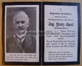 dc012 -  Reichsbahnrat Franz Sperl died in Railways accident in January 1939  - death card
