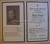 dc083 -  Stabsfeldwebel Karl Kiesl - kia in July 1944 - death card