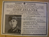 dc088 -  Obergefreiter Josef Zellner - Gebirgsjaeger - Eastern Front Medal & Wound Badge - kia in Russia in August 1943 - death card