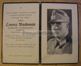 dc096 -  Stabszahlmeister - Gebirgsjaeger - killed in a bombing raid on Munich in July 1944 - death card