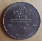 om277 - 3 - East German 5 Marks issued coin - c1969 20 years anniversary of the DDR