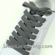 Dark Gray Fat 54IN Lace Charcoal Grey Wide/Fat ShoeString 2PRs