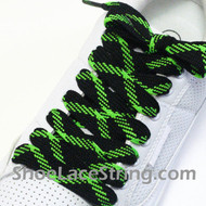 Neon Green and Black Fat Laces Wider Shoe Strings 52INCH 2PAIRS