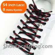 Black and Red 54INCH Round Shoe Lace Round Shoe String 2Pairs