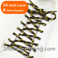 """Brown and Yellow 54"""" Round Shoe Lace Round Shoe String 2Pairs"""