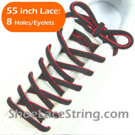 """Charcoal Dark Gray and Red 55"""" Oval Shoe Lace Shoe String 1Pair"""