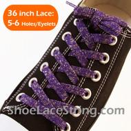 Glitter Purple Shoe Lace Sparkling Purple Shoe String 36IN 2PAIR