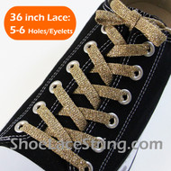 Glitter Gold Shoe Lace Sparkling Gold Shoe String 36INCH 2PAIRS