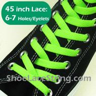 Neon Green 45IN Flat ShoeLace Neon Green Flat ShoeString 2PRs