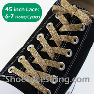 Glitter Sparkling Gold ShoeLaces Gold ShoeStrings 45INCH 2PAIRS