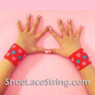 Red with Stars Cool Kid's Wrist Bands for Party,  2PAIRS