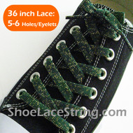 Gold in Green Glitter Shoe Lace Sparkling Shoe String 36IN 2PRs
